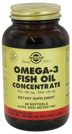 DROPPED: Solgar - Omega 3 Fish Oil Concentrate EPA 180 mg - DHA 120 mg - 60 Softgels CLEARANCE PRICED