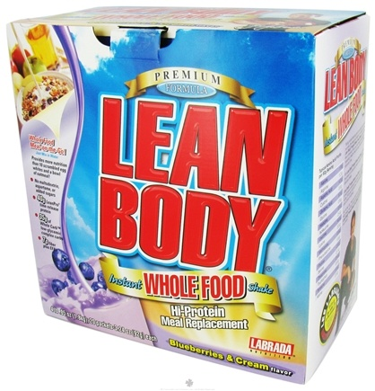 DROPPED: Labrada - Lean Body Whole Food Hi-Protein Meal Replacement 20 x 3.24 oz. Packets Blueberries & Cream - CLEARANCE PRICED