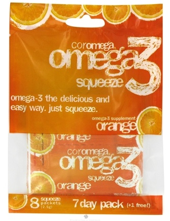 DROPPED: Coromega - Omega 3 Squeeze 7 Day (+1 Free) Orange - 8 Packet(s) CLEARANCE PRICED