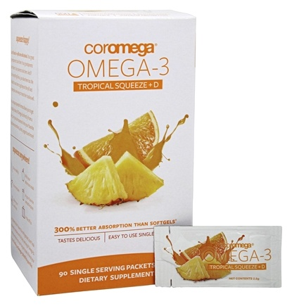 Coromega - Omega 3 + D Squeeze Tropical Orange - 90 Packet(s)