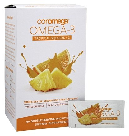 Coromega - Omega-3 Tropical Squeeze + D - 90 Packet(s)