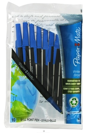 DROPPED: Paper Mate - Write Bros Recycled Ballpoint Pen Medium Point 1.0 mm Blue - 10 Pack CLEARANCE PRICED