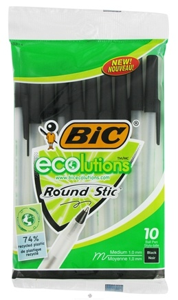 DROPPED: BIC - Ecolutions Round Stic Ball Pen Medium Point 1.0 mm Black - 10 Pack CLEARANCE PRICED