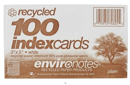 "DROPPED: Roaring Spring - Environotes Index Cards Plain Recycled 3"" x 5"" White - 100 Pack CLEARANCE PRICED"