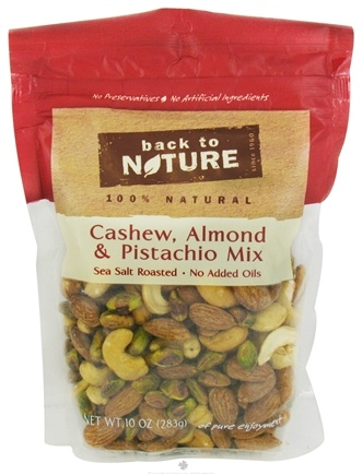 DROPPED: Back To Nature - Trail Mix Cashew, Almond & Pistachio Mix Sea Salt Roasted - 10 oz. CLEARANCE PRICED
