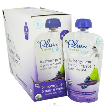 DROPPED: Plum Organics - Organic Baby Food Blueberry, Pear & Purple Carrot 6+ months - 4 oz. CLEARANCE PRICED