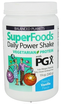 DROPPED: Natural Factors - Balanced Planets SuperFoods Daily Power Shake Vegetarian Protein With PGX French Vanilla Flavor - 19 oz.