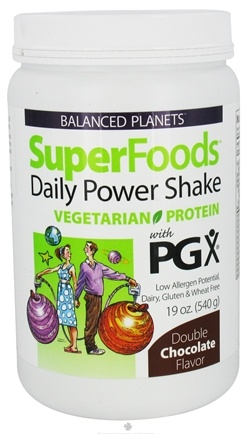 DROPPED: Natural Factors - Balanced Planets SuperFoods Daily Power Shake Vegetarian Protein With PGX Double Chocolate Flavor - 19 oz.