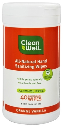 DROPPED: CleanWell - All-Natural Hand Sanitizing Wipes Orange Vanilla - 40 Wipe(s)