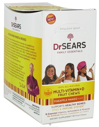 DROPPED: Dr. Sears Family Essentials - Multi-Vitamin + D Fruit Chews For Kids Pineapple Mango - 30 Chews