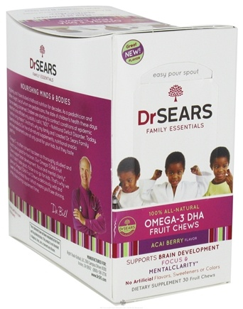 DROPPED: Dr. Sears Family Essentials - Omega-3 DHA Fruit Chews For Kids Acai Berry - 30 Chews