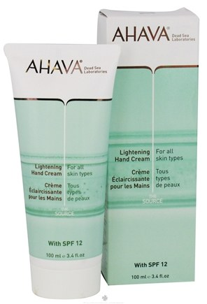 DROPPED: AHAVA - The Source Lightening Hand Cream For All Skin Types 12 SPF - 3.4 oz. CLEARANCE PRICED