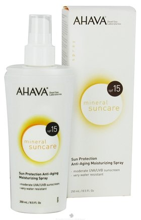 DROPPED: AHAVA - Mineral Suncare Sun Protection Anti-Aging Moisturizing Spray 15 SPF - 8.5 oz. CLEARANCE PRICED