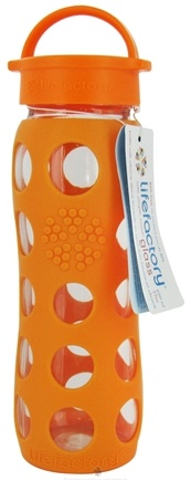 Lifefactory - Glass Beverage Bottle With Silicone Sleeve Orange - 22 oz.