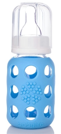 DROPPED: Lifefactory - Glass Baby Bottle With Silicone Sleeve Sky Blue - 4 oz. CLEARANCE PRICED