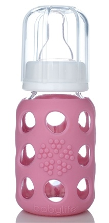 DROPPED: Lifefactory - Glass Baby Bottle With Silicone Sleeve Pink - 4 oz. CLEARANCE PRICED