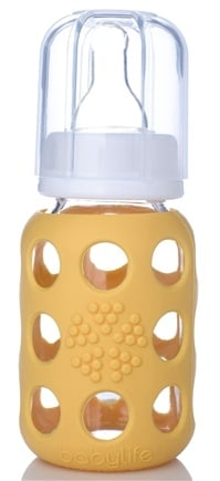 DROPPED: Lifefactory - Glass Baby Bottle With Silicone Sleeve Yellow - 4 oz. CLEARANCE PRICED