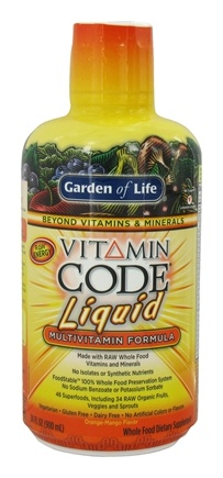 Garden of Life - Vitamin Code Liquid Multivitamin Formula Orange Mango - 30 oz.