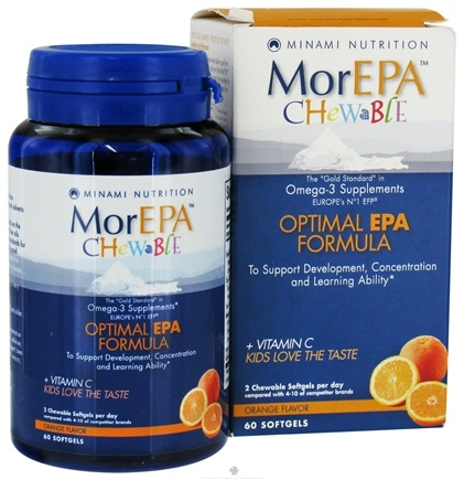 DROPPED: Minami Nutrition - MorEPA Chewable For Kids Orange - 60 Softgels