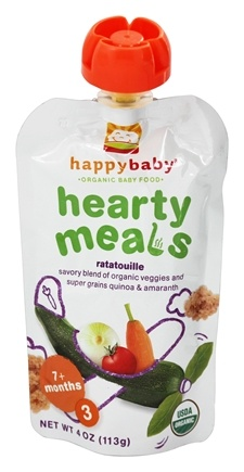 HappyBaby - Organic Baby Food Stage 3 Meals Ages 7+ Months Amaranth Ratatouille - 4 oz.