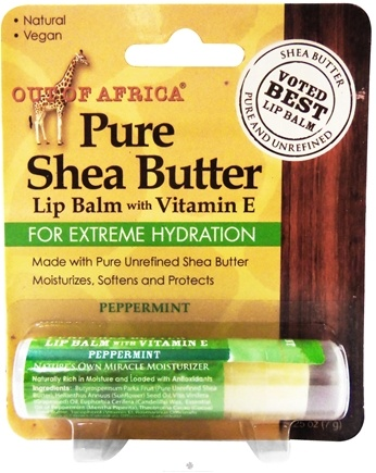 DROPPED: Out Of Africa - Pure Shea Butter Lip Balm with Vitamin E Peppermint - 0.25 oz. (formerly SPF15)