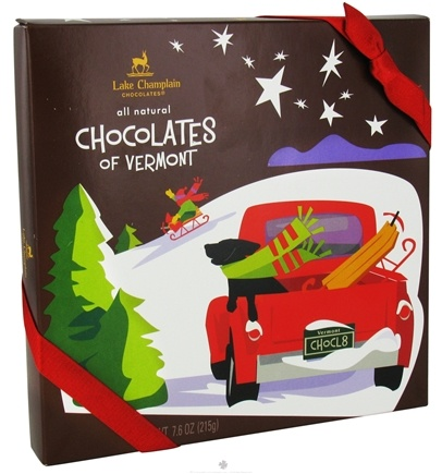 DROPPED: Lake Champlain Chocolates - UNPUBLISHED Chocolates of Vermont Assorted Christmas Holiday Box 16 Pieces - 7.6 oz.