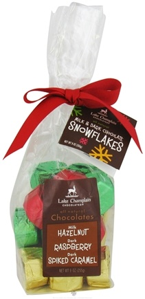 DROPPED: Lake Champlain Chocolates - UNPUBLISHED All Natural Milk & Dark Chocolate Christmas Snowflakes - 9 oz.