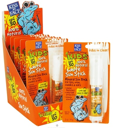 DROPPED: Kiss My Face - Kids 100% Natural Mineral Sunblock White Sun Stick Orange Scented 30 SPF - 0.5 oz. CLEARANCE PRICED