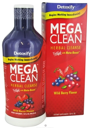 DROPPED: Detoxify Brand - Mega Clean Herbal Cleanse Wild Berry Flavor - 32 oz.