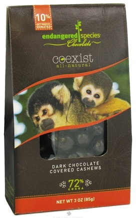 DROPPED: Endangered Species - Coexist All-Natural Dark Chocolate Covered Cashews 72% Cocoa - 3 oz.