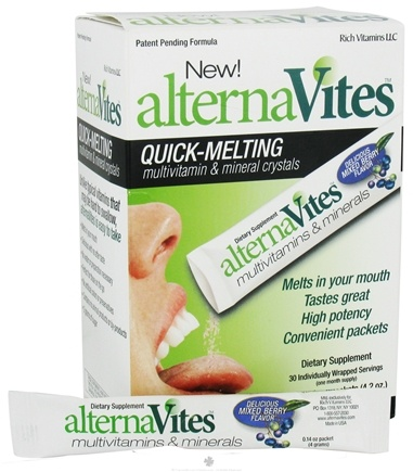 DROPPED: AlternaVites - Quick-Melting Multivitamin & Mineral Crystals Mixed Berry - 30 Packet(s) CLEARANCE PRICED