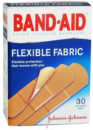 DROPPED: Johnson & Johnson - Band-Aid Adhesive Bandages Flexible Fabric Assorted Sizes - 30 Bandage(s)