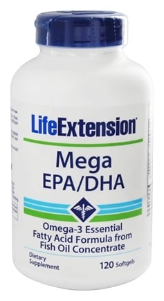 Life Extension - Mega EPA/DHA Omega-3 Essential Fatty Acid Formula From Fish Oil Concentrate - 120 Softgels