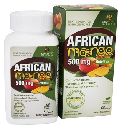 DROPPED: Genceutic Naturals - African Mango & Green Tea 500 mg. - 60 Vegetarian Capsules