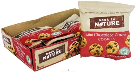DROPPED: Back To Nature - Cookies Mini 6 Pack Chocolate Chunk - 7.5 oz. CLEARANCE PRICED