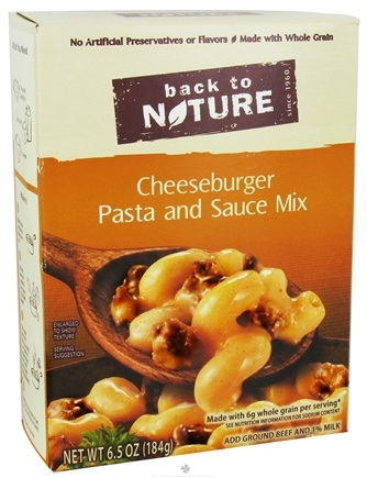 DROPPED: Back To Nature - Cheeseburger Pasta and Sauce Mix - 6.5 oz. CLEARANCE PRICED