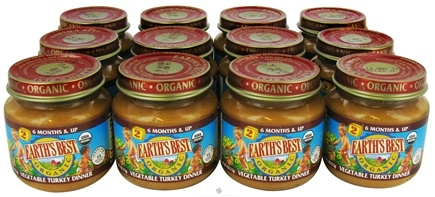 DROPPED: Earth's Best - Organic Baby Food Stage 2 Vegetable Turkey Dinner 12 x 4 oz. Jars - 1 Case CLEARANCE PRICED