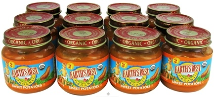 DROPPED: Earth's Best - Organic Baby Food Stage 2 Sweet Potatoes 12 x 4 oz. Jars - 1 Case CLEARANCE PRICED