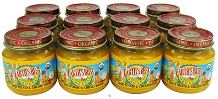 DROPPED: Earth's Best - Organic Baby Food Stage 2 Sweet Potato & Chicken Dinner 12 x 4 oz. Jars - 1 Case CLEARANCE PRICED