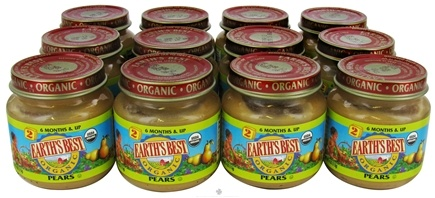 DROPPED: Earth's Best - Organic Baby Food Stage 2 Pears 12 x 4 oz. Jars - 1 Case CLEARANCE PRICED