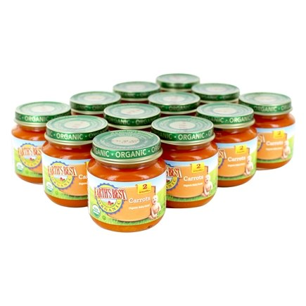 DROPPED: Earth's Best - Organic Baby Food Stage 2 Carrots 12 x 4 oz. Jars - 1 Case CLEARANCE PRICED