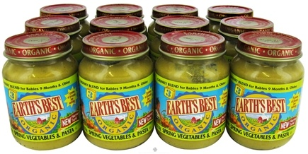 DROPPED: Earth's Best - Organic Baby Food Stage 3 Chunky Blend Spring Vegetables & Pasta 12 x 6 oz. Jars - 1 Case CLEARANCE PRICED