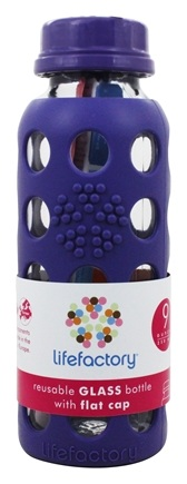 Lifefactory - Glass Beverage Bottle With Silicone Sleeve Royal Purple - 9 oz.