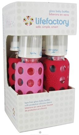 DROPPED: Lifefactory - Glass Baby Bottle With Silicone Sleeve Starter Kit Pink/Raspberry - CLEARANCE PRICED