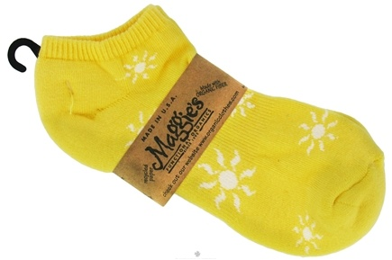 DROPPED: Maggie's Organics - Socks Cotton Patterned Footie Size 9-11 Sunshine Yellow - 1 Pair CLEARANCE PRICED
