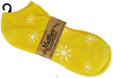 DROPPED: Maggie's Organics - Socks Cotton Patterned Footie Size 10-13 Sunshine Yellow - 1 Pair CLEARANCE PRICED