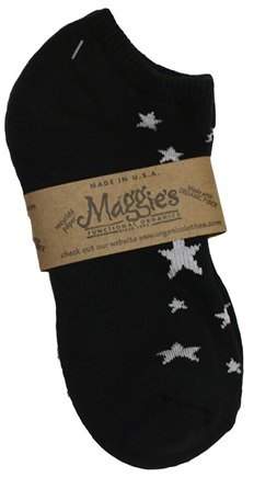 DROPPED: Maggie's Organics - Socks Cotton Patterned Footie Size 10-13 Stars Black - 1 Pair CLEARANCE PRICED