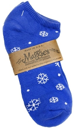 DROPPED: Maggie's Organics - Socks Cotton Patterned Footie Size 10-13 Snowflakes Blue - 1 Pair CLEARANCE PRICED