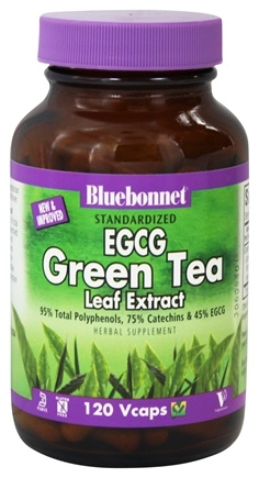 Bluebonnet Nutrition - Standardized EGCG Green Tea Leaf Extract - 120 Vegetarian Capsules