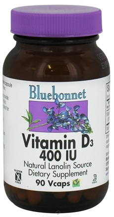DROPPED: Bluebonnet Nutrition - Vitamin D3 Natural Lanolin Source 400 IU - 90 Vegetarian Capsules CLEARANCE PRICED